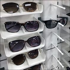 This Modular Stacking Sunglass Merchandiser Display is a freestanding tower. But a shorter Shelf-Top Merchandiser are possible if fewer units employed Retail Fixtures, Store Fixtures, Retail Merchandising, Trays, Eyewear, Shapes, Display, Sunglasses, Wood