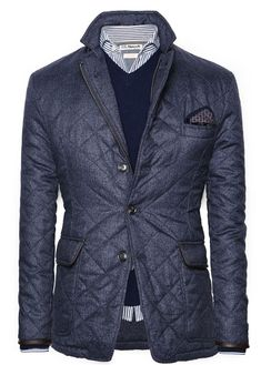 Navy Nylon Quilted Jacket with Ribbon Trim, and Blue Sweater. Men's Fall Winter Fashion.