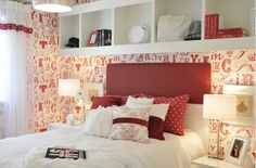 8 Ways to Use the Color Red in Your Bedroom: French Inspired Bedroom Using Red