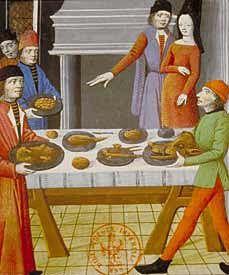 """Bnf - Gastronomie Médiévale L'alimentation,la cuisine les repas. Au Moyen Âge, on aime les mets fortement colorés en jaune ou en rouge, que l'on obtient avec du safran ou du """"sang de dragon"""" (sécrétion résineuse d'un arbre de l'océan Indien). Alternant pour des raisons religieuses la viande et le poisson, la cuisine médiévale pratique le déguisement. Il est ainsi des recettes ambiguës comme """"l'esturgeon contrefait de veau""""."""
