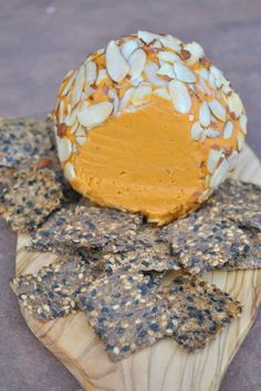 Kick Ace Extra Sharp Raw Vegan Holiday Cheddar Cheese Ball from VegedOut Vegan Cheddar Cheese, Vegan Cheese Recipes, Nut Cheese, Dairy Free Cheese, Cheese Ball, Vegan Foods, Vegan Snacks, Vegan Dishes, Raw Food Recipes