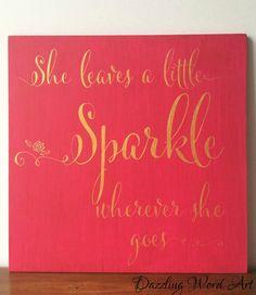 She leaves a Little Sparkle Wall Art Nursery Decor (45.00 EUR) by DazzlingWordArt