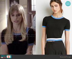 Brooke's black top with blue trim on Scream. Outfit Details: http://wornontv.net/50779/ #Scream