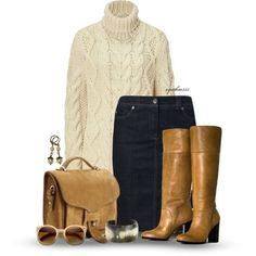 A fashion look from September 2013 featuring michael kors sweaters, mid length denim skirt and camel boots. Browse and shop related looks. Skirts With Boots, Skirt Boots, Denim Skirts, Heel Boots, Stylish Winter Outfits, Autumn Winter Fashion, Winter Wear, Fall Winter, Look Chic