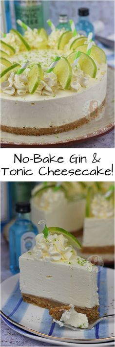 No-Bake Gin and Tonic Cheesecake! No-Bake Gin and Tonic Cheesecake! Gin Tonic, Gin And Tonic Cake, Gin And Tonic Cheesecake, Summer Cheesecake, Cheesecake Recipes, Dessert Recipes, Gin Recipes Food, No Bake Recipes, No Bake Cheesecake
