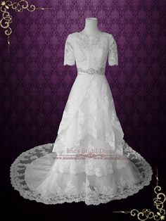 Modest Wedding Dress with Sleeves Vintage Lace Wedding Dress with Jewe | Ieie's Bridal Wedding Dress Boutique http://www.ieiebridal.com/collections/modest-wedding-gowns #LaceWeddingDress