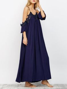 SHARE & Get it FREE | Cold Shoulder Flowing Maxi Dress - NavyFor Fashion Lovers only:80,000+ Items • New Arrivals Daily Join Zaful: Get YOUR $50 NOW!