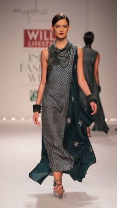 Blue, Myoho WIFW AW'14, Ethnic, Asymmetric drape dress, Habutai Silk fabric, Moroccan prints