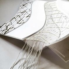 Folded wall sculpture with macrame | Harriet Whittaker