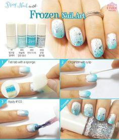 Disney Frozen Elsa inspired nail art by Etude House Nail Art For Kids, New Nail Art, Cool Nail Art, Disney Frozen Nails, Frozen Nail Art, Nail Polish Designs, Acrylic Nail Designs, Nail Art Designs, Etude House