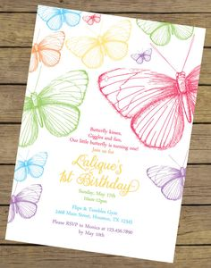 Rainbow Butterfly Birthday Invitation  by CharlesAlexDesign