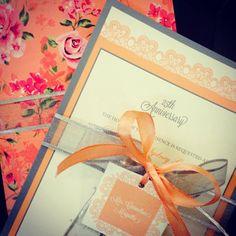 Gorgeous Peach floral printed indian wedding card !
