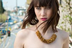 Leather Necklace by morelle Yellow Necklace, Summer Necklace, Leather Necklace, Boho Necklace, Lambskin Leather, Mustard Yellow, Summer Collection, Jewelry Accessories, Handmade Jewelry