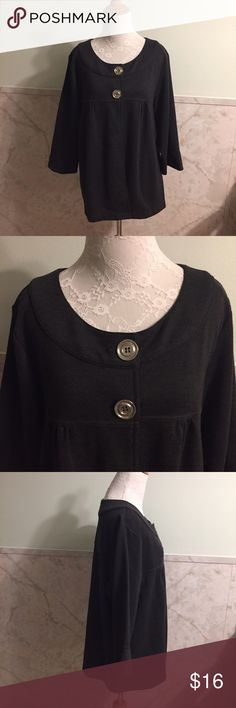 Soft by Avenue Two Button Cardigan 18/20 This is an adorable two button cardigan by Avenue's Soft line in a size 18/20. The second button hole shows some use but doesn't effect the buttoning whatsoever. The material is polyester,rayon, and spandex. It's a really dark gray verging on black. It's not a sweater material but I put it under the cardigan category. Avenue Sweaters Cardigans