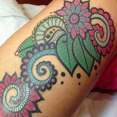 Newest tattoo. Paisley thigh piece done by Alec Bauer, Dubuque, IA