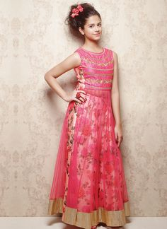 Doll Pink Net Kids Anarkali Suit