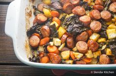 Andouille Sausage, Kale, and Root Vegetable Bake for just 315 calories and 8 PointsPlus - Paleo, low carb, and all made in one dish!