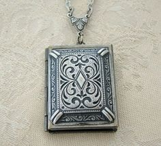 Beautiful Silver Large Book Simple Locket by BackstreetCreations, $33.00  Beautiful Silver Large Book Simple Locket Romantic Wedding Bride Mother Wife Gorgeous Friend Sister Photo Pictures Yourself. This is an Original Creation by BackstreetCreations  Wedding party, Bride, Mother of the Bride or Mother of the Groom, Mother's day present, Graduation gift, Birthday, Anniversary, Hanukkah, Christmas  Mother, daughter, sister, friend, your wife, or for someone that you love