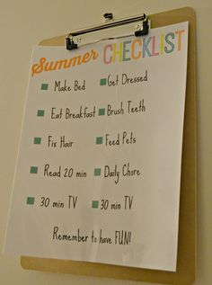 Summer Checklist for Kids- Great to keep kids on track even after school lets out