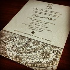 Devi - one of our most popular paisley designs. The tinted emboss adds another layer of elegance and opulance when paired with the gold foil. #southasianbride #southpacificwedding #indianbride #indianweddings #indianweddinginvitation #foilstamp #letterpress #weddinginvitations