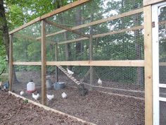 Simple design to follow chicken run. Cover the top with hex netting and dig in the bottom! #ChickenRun www.FreeHenHousePlans.net