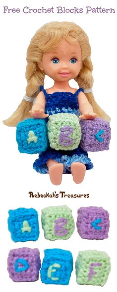 Crochet Kelly's Mini Baby Blocks with this Toys for Toys Pattern!