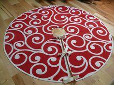 Red and White Swirl Christmas Tree Skirt by ForSeasonsHomeDecor