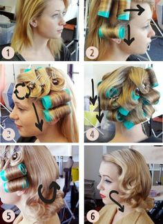 "10 Vintage Hairdos To Look Like You Belong In ""Mad Men"" Yessss! Finally, an easy how to hot roll shoulder length hair. Get Betty Draper roller curls:<br> Bring out your inner-Betty with these retro hairstyles. Vintage Hairstyles Tutorial, Retro Hairstyles, Fashion Hairstyles, Hairstyles Men, Wedding Hairstyles, 1920s Hair Tutorial, Hairstyle Tutorials, Roller Set Hairstyles, Rockabilly Hair Tutorials"