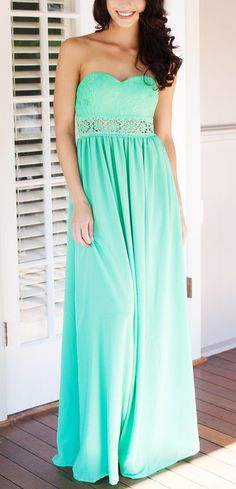 Floral Cutout Waist Maxi Dress - Mint  if this had straps :(