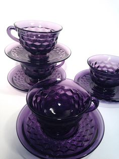 Fostoria American, Purple Kitchen, All Things Purple, Purple Stuff, Purple Home, Purple Aesthetic, Purple Glass, Carnival Glass, Antique Glass