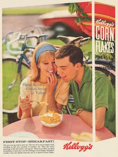 truthaboutthebeatlesgirls:  Kellogg's Corn Flakes Ad Kellogg's Corn Flakes ad featuring Pattie Boyd. From UK Woman magazine, August 1, 1964 issue.
