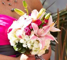 Bridesmaid :  wedding bouquet ceremony flowers ivory pink purple silver white Bridesmaid Bouquet