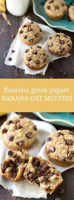 Flourless Greek Yogurt Banana Oat Muffins - 137 calories & of fat & protein Gluten Free Muffins, Healthy Muffins, Healthy Sweets, Healthy Baking, Healthy Snacks, 100 Calorie Snacks, Healthy Breakfasts, Eating Healthy, Clean Eating