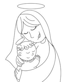 Mary And Her Newborn Son Coloring Page