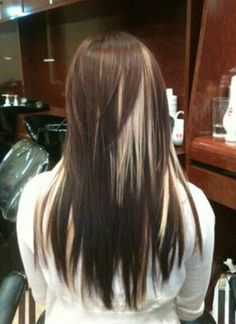 Dark brown hair with peekaboo google search hair and such beautiful red w platinum chunky high lights yelp pmusecretfo Choice Image