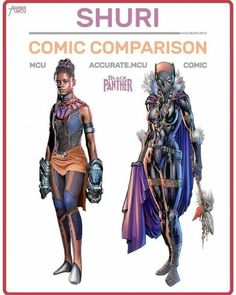 Marvel Cinematic Universe: How Accurate Are The Superhero Characters To Their Comic Book Versions? Marvel Dc Comics, Marvel Heroes, Marvel Avengers, Shuri Black Panther, Black Panther Marvel, Comic Movies, Marvel Movies, Comic Book, Marvel Universe