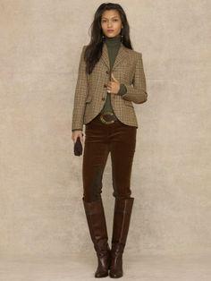 brown velvet jacket ladies outfit ralph lauren - Google Search