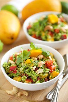 Thai Style Broccoli Salad with Sweet Chili Lime Dressing #broccoli #salad #healthy