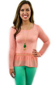Peach Crochet Top - $36.95 - Peach Crochet Top from Envy Boutique's new 2015 Spring Fashion line. Extremely light weight, soft breathable material, with long sleeve for the cooler spring night breeze.  | available at http://www.envyboutique.us/product/peach-crochet-top/ |  #Envy #Boutique #fashion #fashiontrends