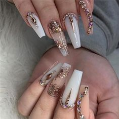 Baby m short nail designs, gel nail art designs, bling nails, prom nails Aycrlic Nails, Glam Nails, Dope Nails, Bling Nails, Fun Nails, Coffin Nails, Bling Nail Art, Manicures, Fabulous Nails