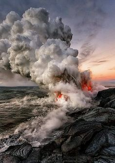 """When lava meets the Ocean"" Photo by Tom Kualii"