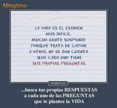 Frases de la vida es como... un examen... #frasesparapensar #minglano #frasesparareflexionar #frasessabias #frasesinteligentes #fraseslindas