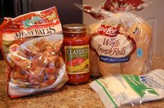 Easy meatball subs - All Slow Cooker Meal Plan THis is one of my easy to do meals, frozen meatballs, jar sauce, shredded cheese and french/hoagie rolls