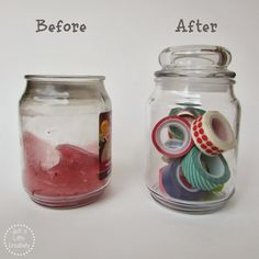 Just A Little Creativity: Clean Wax from Jar Candles to Use for Organization & Storage. Heat jar in water to boiling & wax melts. Pour out. Use hot faucet water & paper towel to clean out the rest. Wipe inside w/alcohol.