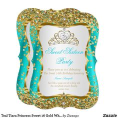 Teal Tiara Princess Sweet 16 Gold White Invite Sweet 16 Regal Royal Gold Aqua Teal Blue and White, Princess Sweet Sixteen 16th Birthday Party. Gold Sparkle Glitter and White Pearl Silver Tiara. Party Princess Party for a girl. Fabulous product for teen Girls. Invitation Formal. Customize to change or add details. Customize with your own details. All Designs are Copyrighted! Content and Designs © 2000-2016 Zizzago™ ® © (Trademark) and all their licensors. Zizzago created this design PLEASE…