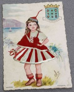 """Madeira, the same costume, version """"infantil"""" + Funchal coat of arms Funchal Madeira Portugal, Vintage Cards, Vintage Postcards, Embroidered Silk, Coat Of Arms, Paper Dolls, Sarah Kay, Traditional, Costumes"""