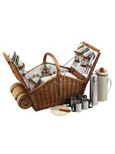 Picnic At Ascot Santa Cruz Huntsman Basket for Four With coffee Set and Blanket