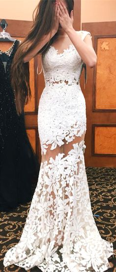 lace prom evening dress, white prom dress, long prom dress, mermaid prom dress, white lace prom dress, elegant prom dress, sleeveless prom dress