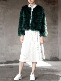 Shop Dark Green Faux Fur Crop Coat online. SheIn offers Dark Green Faux Fur Crop Coat & more to fit your fashionable needs.
