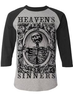 """Men's """"Heaven's Sinners"""" Baseball Tee by Se7en Deadly (Black/Grey) #inkedshop #heavenssinners #graphictee #skull #skeleton #fashion"""